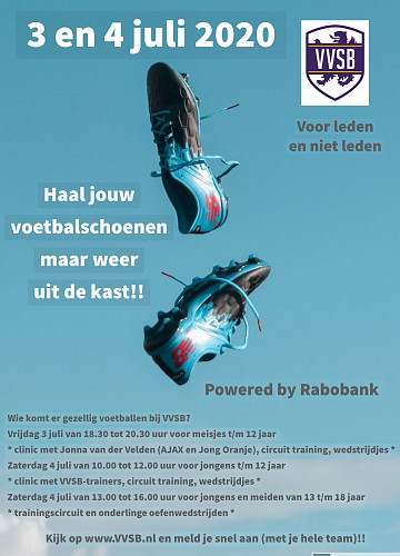 VVSB Rabobank open trainingen 3 en 4 juli 2020